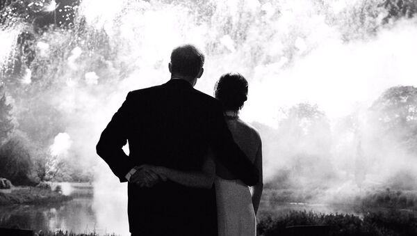 The photograph, which features on Their Royal Highnesses' Christmas card, was taken by photographer Chris Allerton - Sputnik International