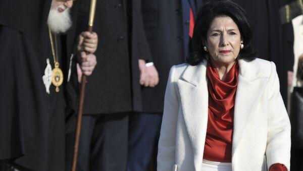 The new Georgian President Salome Zurabishvili arrives to attend her inauguration in Telavi, Georgia, Sunday, Dec. 16, 2018 - Sputnik International