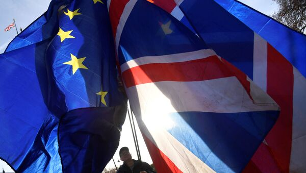 Demonstrators hold EU and Union flags during an anti-Brexit protest opposite the Houses of Parliament in London, Britain, December 17, 2018 - Sputnik International