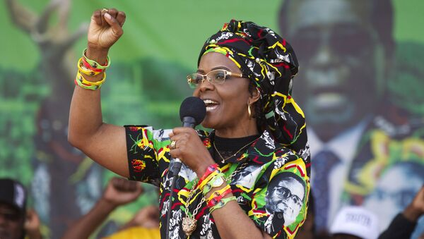 Zimbabwean President Robert Mugabe's wife Grace greets party supporters at a rally in Chinhoyi about 120 Kilometres west of the capital Harare, Saturday, July, 29, 2017 - Sputnik International