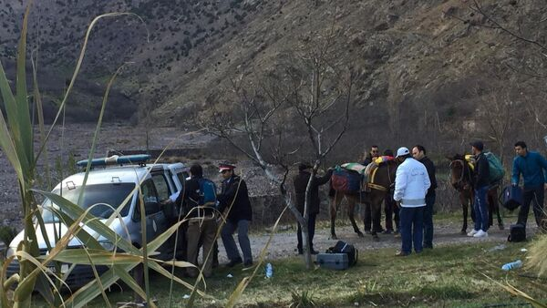 In this photo provided by Moroccan news channel 2M and taken on Tuesday, Dec. 18, 2018, a security team is seen at the area where the bodies of two Scandinavian women tourists were found dead, near Imlil in the High Atlas mountains, Morocco - Sputnik International