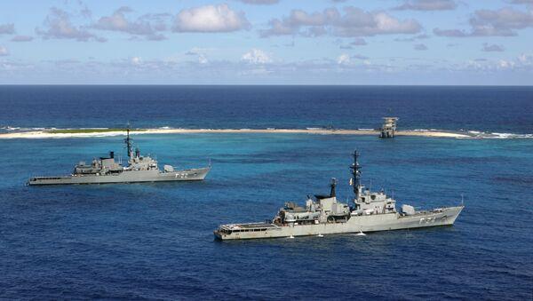 Venezuelan Navy war ships General Soublette, right, and Admirante Brion, left, anchor off Isla de Aves - Sputnik International