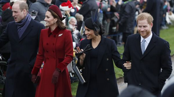 Britain's Prince William, left, Kate, Duchess of Cambridge, second left, Meghan Duchess of Sussex and Prince Harry, right, arrive to attend the Christmas day service at St Mary Magdalene Church in Sandringham in Norfolk, England, Tuesday, Dec. 25, 2018.  - Sputnik International
