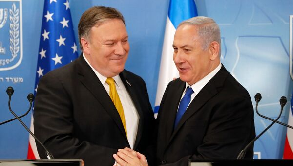 In this Sunday, April 29, 2018 file photo, U.S. Secretary of State Mike Pompeo. left. is greeted by Israeli Prime Minister Benjamin Netanyahu ahead of a press conference at the Ministry of Defense in Tel Aviv. - Sputnik International
