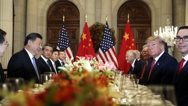 U.S. President Donald Trump, second right, and China's President Xi Jinping, second left, attend their bilateral meeting at the G20 Summit in Buenos Aires, Argentina. - Sputnik International