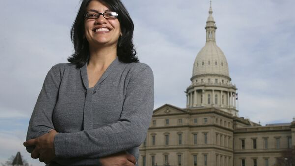 In this Nov. 6, 2008 file photo, Rashida Tlaib, a Democrat, is photographed outside the Michigan Capitol in Lansing, Mich. - Sputnik International