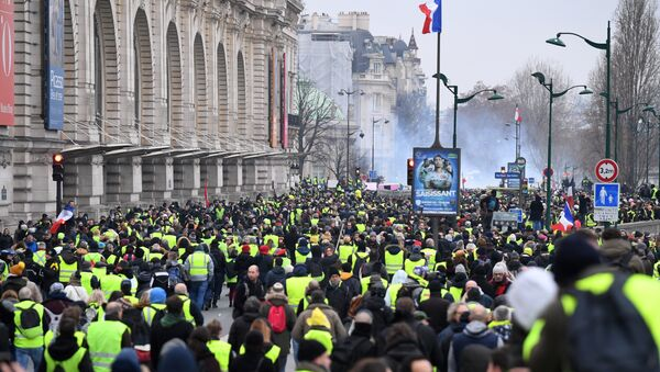 Yellow vest protestors march past Le Musee D'Orsay in Paris on January 5, 2019, during a rally by yellow vest Gilets Jaunes anti-government protestors. - Sputnik International