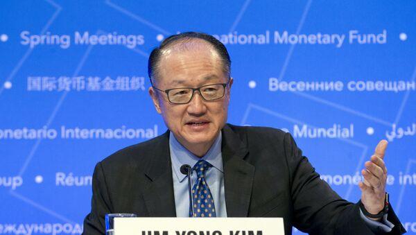 World Bank President Jim Yong Kim speaks during a news conference at the World Bank/IMF Spring Meetings, in Washington, Thursday, April 19, 2018. - Sputnik International