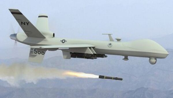 US predator drone unleashing the hellfire missile. This weapon deployed by the Central Intelligence Agency (CIA) and the Pentagon has killed thousands. The Obama administration has increased its usage in Africa, the Middle East and Central Asia. - Sputnik International