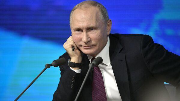 December 20, 2018. Russian President Vladimir Putin at his annual press conference at the World Trade Center on Krasnaya Presnya. - Sputnik International