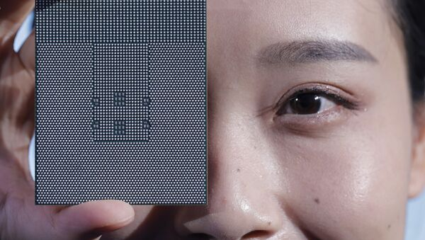 A Kunpeng 920 chip is displayed during an unveiling ceremony in Shenzhen, China, Monday, Jan. 7, 2019 - Sputnik International