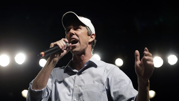 In this Nov. 5, 2018, file photo, Rep. Beto O'Rourke, D-El Paso, the 2018 Democratic candidate for U.S. Senate in Texas, speaks during a campaign rally in El Paso, Texas. Southern politics was a one-party affair for a long time. But now it's a mixed bag with battlegrounds emerging in states with growing metro areas where white voters are more willing to back Democrats. - Sputnik International