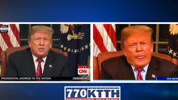 Staffer from Washington State news station fired over doctored video of US President Donald Trump's Oval Office speech on January 8, 2019. - Sputnik International