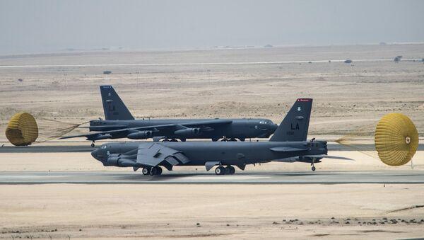 U.S. Air Force B-52 Stratofortress aircraft from Barksdale Air Force Base, Louisiana, arrive at Al Udeid Air Base, Qatar, Saturday, April 9, 2016. - Sputnik International