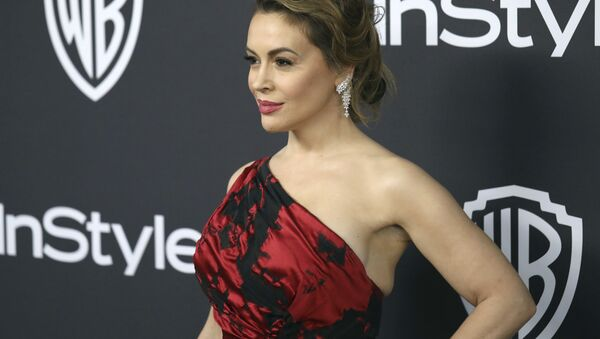Alyssa Milano arrives at the InStyle and Warner Bros. Golden Globes afterparty at the Beverly Hilton Hotel on Sunday, Jan. 6, 2019, in Beverly Hills, Calif. - Sputnik International