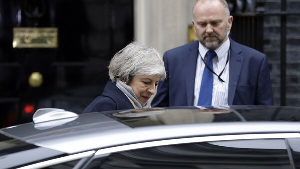 Britain's Prime Minister Theresa May leaves a cabinet meeting at Downing Street in London, Tuesday, Jan. 15, 2019. - Sputnik International