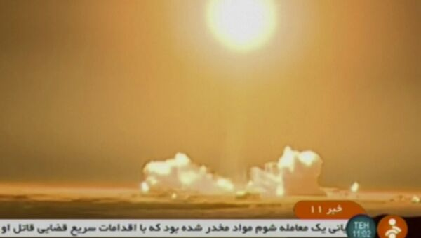 In this frame grab from Iranian state TV, a video, a rocket carrying a Payam satellite is launched at Imam Khomeini Space Center, a facility under the control of the country's Defense Ministry, in Semnan province, Iran, Tuesday, Jan. 15, 2019. According to Telecommunications Minister Mohammad Javad Azari Jahromi, the rocket failed to reach the necessary speed in the third stage of its launch. - Sputnik International