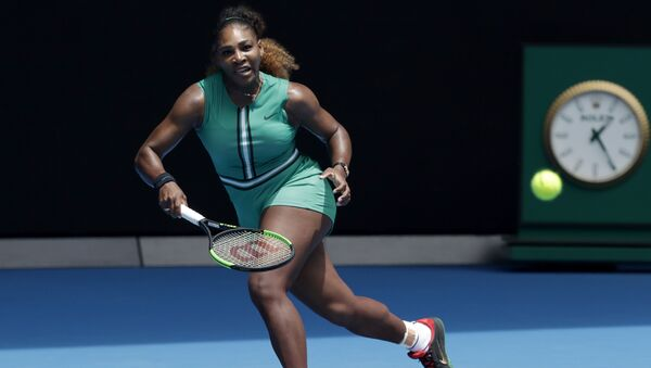 United States' Serena Williams prepares to hit a forehand return to Germany's Tatjana Maria during their first round match at the Australian Open tennis championships in Melbourne, Australia, Tuesday, Jan. 15, 2019. - Sputnik International