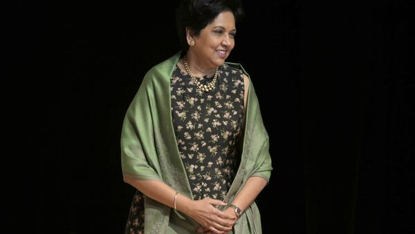 Former PepsiCo CEO Indra Nooyi participates in an event in New York, Tuesday, Oct. 9, 2018 - Sputnik International