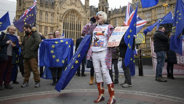 Участники акции против Brexit у здания парламента Великобритании в Лондоне - Sputnik International
