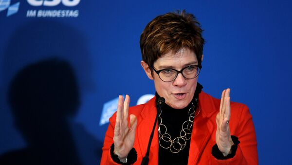 """Christian Democratic Union, CDU party leader Annegret Kramp-Karrenbauer gives a statement after a Christian Social Union party meeting at """"Kloster Seeon"""" in Seeon, Germany, January 5, 2019 - Sputnik International"""
