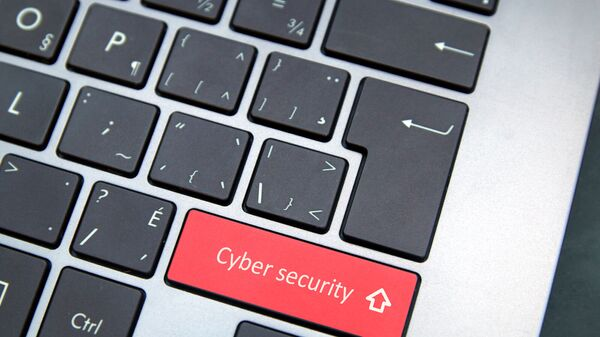 Computer keyboard with red cybersecurity button - Sputnik International
