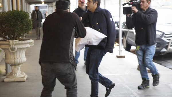 Michael Cohen arrives at his home in New York with his left arm in a sling supported by a pillow Friday, Jan. 18, 2019. Democrats are vowing to investigate whether President Donald Trump directed Cohen, his personal attorney, to lie to Congress about a Moscow real estate project, calling that possibility a concern of the greatest magnitude. - Sputnik International