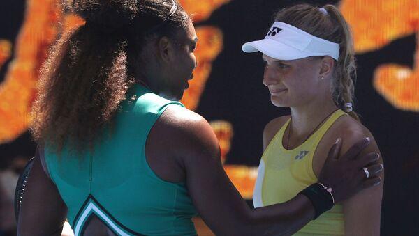Tennis - Australian Open - Third Round - Melbourne Park, Melbourne, Australia, January 19, 2019. Serena Williams of the U.S. interacts with Ukraine's Dayana Yastremska after winning the match - Sputnik International