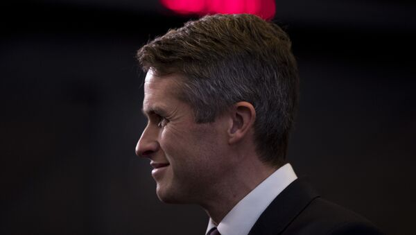 Britain's Defence Minister Gavin Williamson stands in the main chamber during the second day of a meeting of the North Atlantic Council at a gathering of NATO defence ministers at NATO headquarters in Brussels, Thursday, Oct. 4, 2018. - Sputnik International