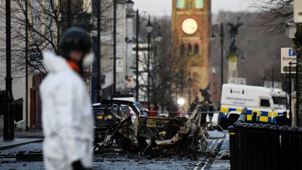 The scene of a suspected car bomb is seen in Londonderry, Northern Ireland January 20, 2019 - Sputnik International