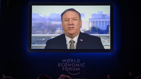 U.S. Secretary of State Mike Pompeo is seen on a screen during his address via satellite at the World Economic Forum (WEF) annual meeting, on January 22, 2019 in Davos, eastern Switzerland. f State Mike Pompeo is seen on a screen during his address via satellite at the World Economic Forum (WEF) annual meeting, on January 22, 2019 in Davos, eastern Switzerland.  - Sputnik International