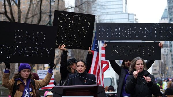 Rep. Alexandria Ocasio-Cortez (D-NY) speaks during a march organised by the Women's March Alliance in the Manhattan borough of New York City, U.S., January 19, 2019 - Sputnik International