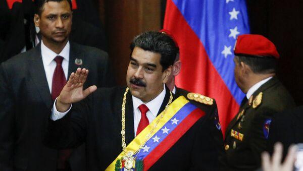 The President of Venezuela, Nicolas Maduro, before starting his speech at the headquarters of the Supreme Court of Venezuela. - Sputnik International