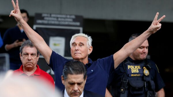 Roger Stone reacts as he walks to microphones after his appearance at Federal Court in Fort Lauderdale, Florida, U.S., January 25, 2019 - Sputnik International