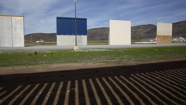 Prototypes of border wall sit behind the bars of the current border wall, Tuesday, Jan. 8, 2019, seen from Tijuana, Mexico - Sputnik International