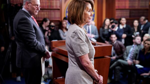 Speaker of the House Nancy Pelosi (D-CA) and Senate Minority Leader Chuck Schumer (D-NY) speak after US President Donald Trump agreed to a deal to end the partial government shutdown on Capitol Hill in Washington, U.S., January 25, 2019 - Sputnik International