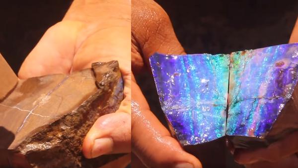 Australian Opal Miner Exposes Natural Beauty Hidden in Boulder - Sputnik International