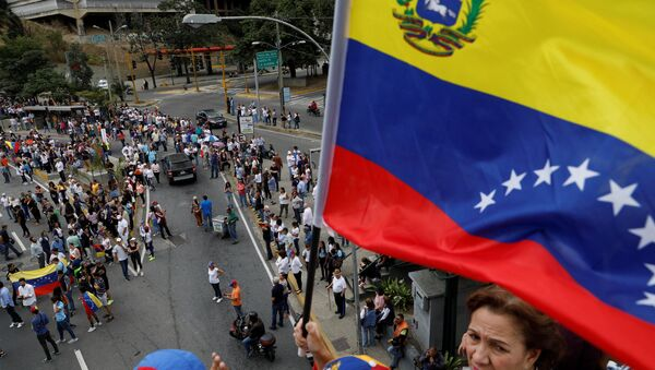 A supporter of Venezuelan opposition leader and self-proclaimed interim president Juan Guaido holds a flag - Sputnik International