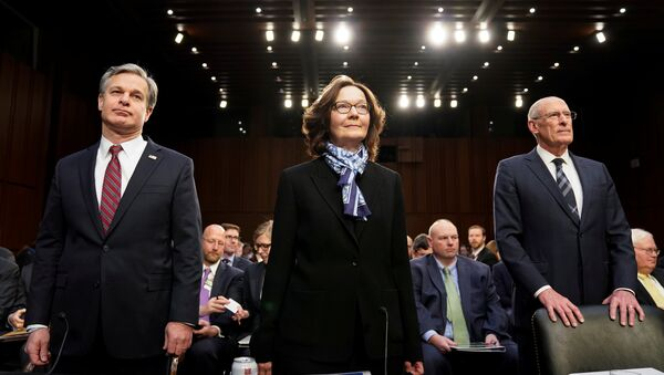 FBI Director Christopher Wray; CIA Director Gina Haspel and Director of National Intelligence Dan Coats arrive with other U.S. intelligence community officials to testify before a Senate Intelligence Committee hearing on worldwide threats on Capitol Hill in Washington, U.S., January 29, 2019. - Sputnik International