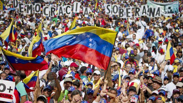 Supporters of Juan Guaido, self-proclaimed Interim President of Venezuela, take part in a rally, in Caracas, Venezuela - Sputnik International