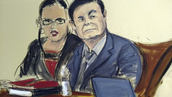 In this courtroom sketch, Joaquin El Chapo Guzman, right, is seated at the defense table with his interpreter, in the U.S. trial of the infamous Mexican drug lord, in New York, Monday Feb. 4, 2019. - Sputnik International