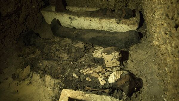 Mummies and other artifacts lie in a recently discovered burial chamber in the desert province of Minya, south of Cairo, Egypt, Saturday, Feb. 2, 2019 - Sputnik International