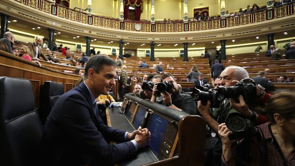 Spain's Prime Minister Pedro Sanchez is photographed at the Spanish parliament in Madrid, Wednesday, Feb. 13, 2019 - Sputnik International