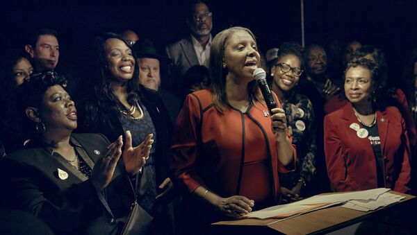 Letitia James, D-NY, speaks to supporters after winning the New York Attorney General's race in New York, the first African-American woman elected to hold statewide New York office as the state attorney general - Sputnik International