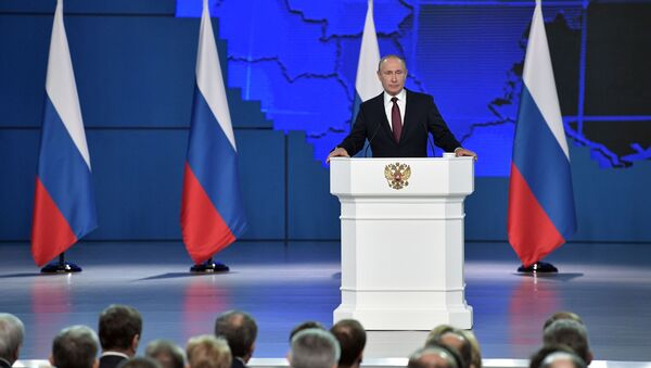 Vladimir Putin delivers his annual address to the Federal Assembly, 20 February, 2019. - Sputnik International