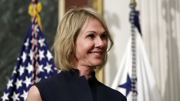 U.S. Ambassador to Canada Kelly Knight Craft stands during her swearing in ceremony in the Indian Treaty Room in the Eisenhower Executive Office Building on the White House grounds, Tuesday, Sept. 26, 2017, in Washington.  - Sputnik International