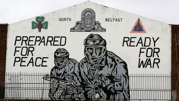 A mural supporting the loyalist Ulster Volunteer Force (UVF) is seen in north Belfast, on the 20th anniversary of the Good Friday Agreement on April 10, 2018. - Sputnik International