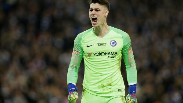 Chelsea's goalkeeper Kepa Arrizabalaga screams at the bench after refusing to be substituted at Wembley on 24 February 2019 - Sputnik International