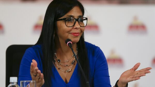 FILE- In this Aug. 28, 2017 file photo, Delcy Rodriguez, then president of the Constitutional Assembly, gives a press conference in Caracas, Venezuela. Venezuelan President Nicolas Maduro has named Rodriguez, on Thursday, June 14, 2018, as the country's new Vice President, replacing Tareck El Aissami, who will assume a new role as the government's top economic policy maker - Sputnik International