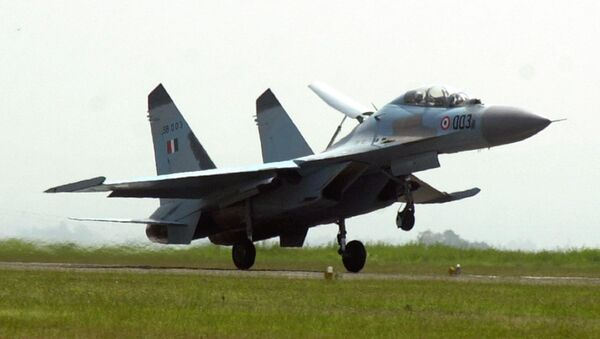 The Russian-made fighter Sukhoi Su-30 MKI takes off during an induction ceremony in to the Indian Air Force at the Indian Air Force base of Pune in the eastern Indian state of Maharastra Friday, Sept. 27, 2002 - Sputnik International